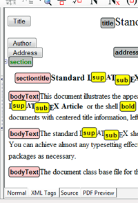 With Version 6 you can display your document with or without XML tags, as XHTML source code, or PDF